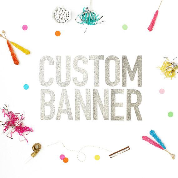 زفاف - Custom Banner available in Either Gold Glitter or Silver Glitter - letters measure 5.5 inches high