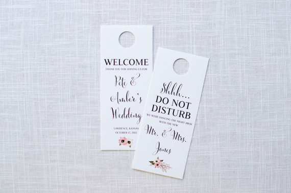 Hochzeit - Blush Poppy Floral Wedding Door Hanger / Welcome and Do Not Disturb / Welcome Bag / Wedding Welcome Letter / #202