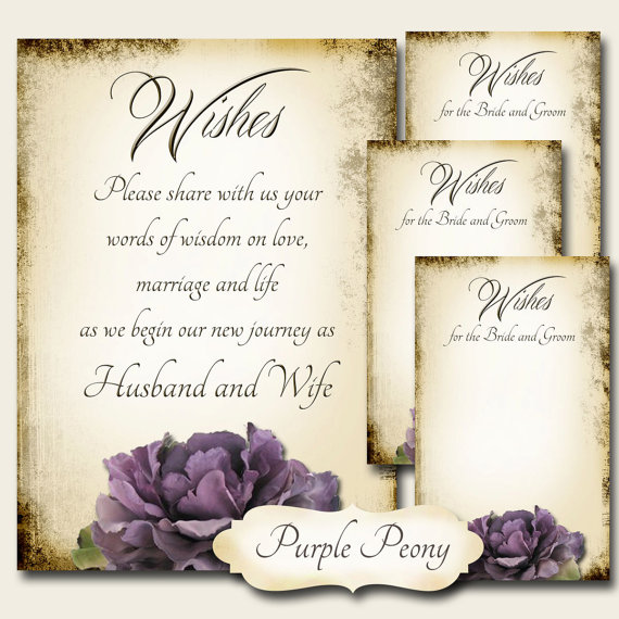 Mariage - PURPLE PEONY Set of Wedding Wish Sign and Tags, Wish Tree Cards, Printable,DIY Weddings, Bridal Shower, Wedding Shower, Wedding Decoration