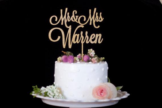 زفاف - Custom Mr and Mrs Wedding Cake Topper-Gold