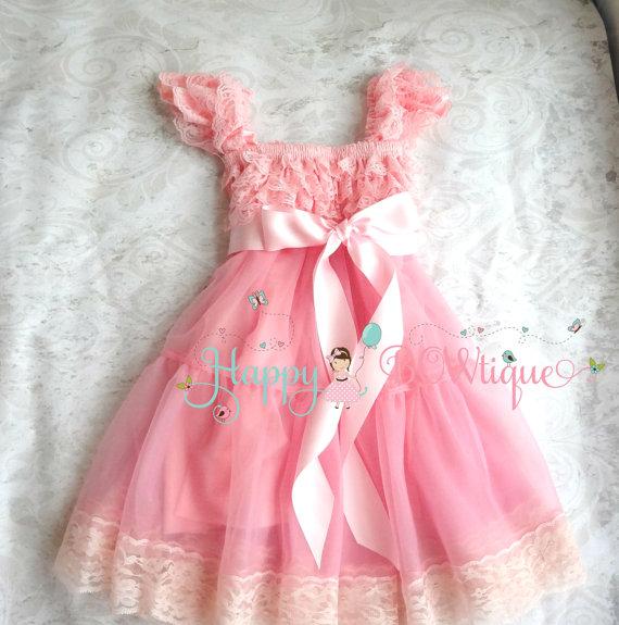 Flower Girl Dress Bubblegum Pink Bow Chiffon Lace Dress