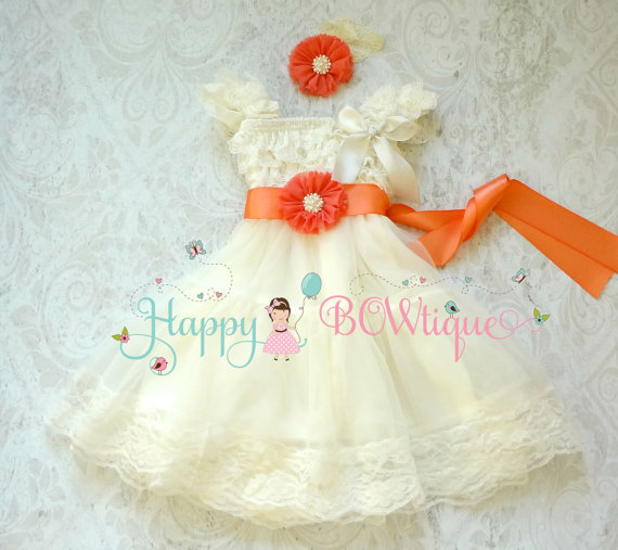 Wedding - Flower girls dress-  Coral Ivory Chiffon Lace Dress set, Ivory lace Dress, baptism, rustic dress, Rustic flower girls lace dress,Girls Dress