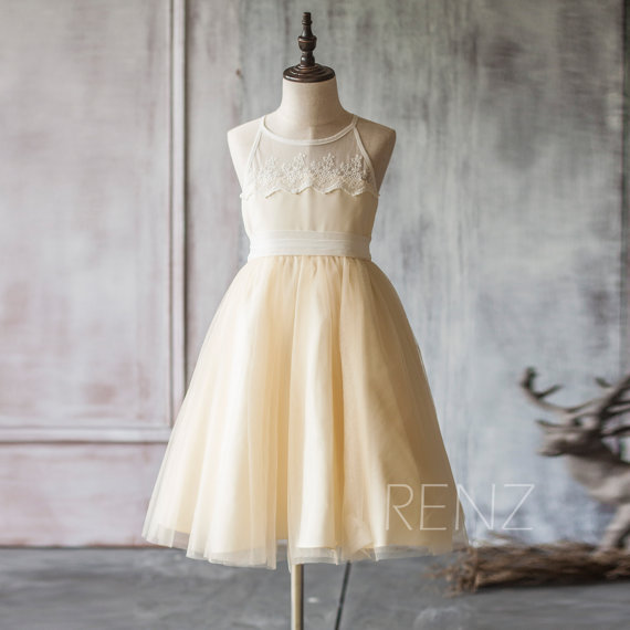 زفاف - 2015 Beige White Junior Bridesmaid Dress, Spaghetti Strap Mesh Chiffon Flower Girl Dress, a line Baby dress tea length (FK317)