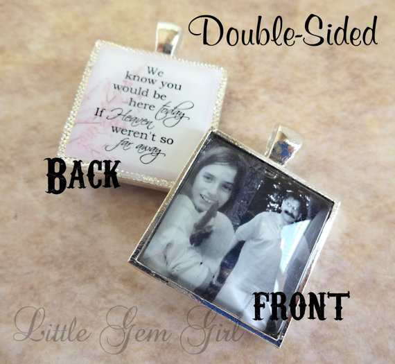 زفاف - Double Sided Custom Photo Wedding Bouquet Charm Custom Picture Wedding Charm Heaven Poem on Back In Memory Picture Necklace Key Chain