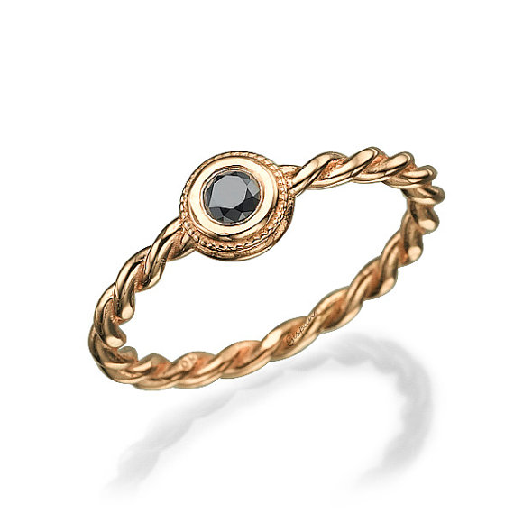 Mariage - Black Diamond Ring, Rose Gold Ring, Engagement Ring, Braided Ring, Unique Engagement Ring, Art Deco Ring, Anniversary gift, christmas
