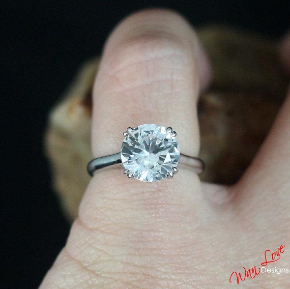 Mariage - White Sapphire Engagement Ring Solitaire Round Cathedral 3ct 9mm 14k 18k White Yellow Rose Gold-Platinum-Custom-Wedding-Anniversary-Layaway