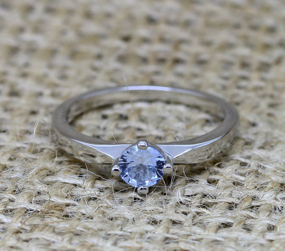 Mariage - Genuine Aquamarine solitaire ring - available in titanium or white gold - engagement ring - wedding ring