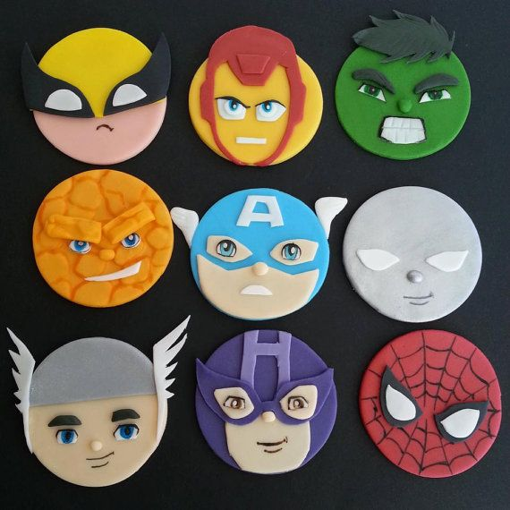 Hochzeit - Marvel / DC, Avengers, Justice League Superhero INSPIRED Fondant Cupcake Toppers