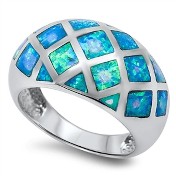 Mariage - 13MM Wide 925 Sterling Silver Blue Australian Lab Opal Inlay Ladies Band Dome Ring Band Excellent Gift