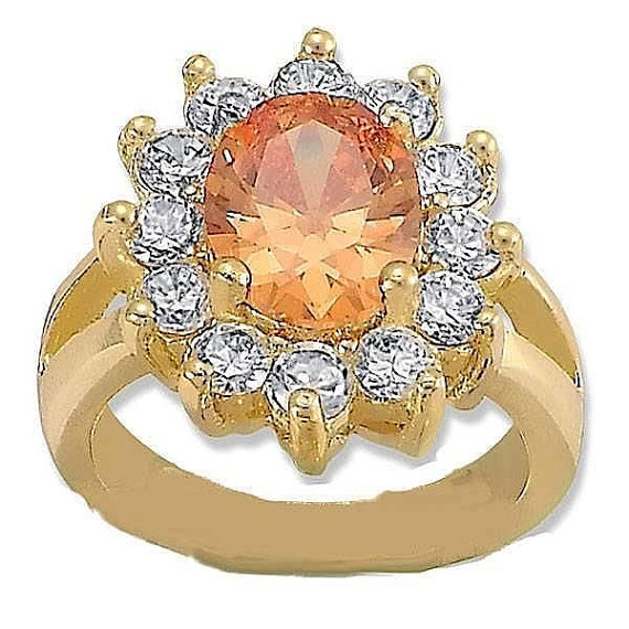 Mariage - 14K Yellow Gold Filled 3.00 Carat Oval Champagne Lab Amber Citrine Round Russian Diamond CZ Split Shank Fashion Cocktail Wedding Ring  4-16