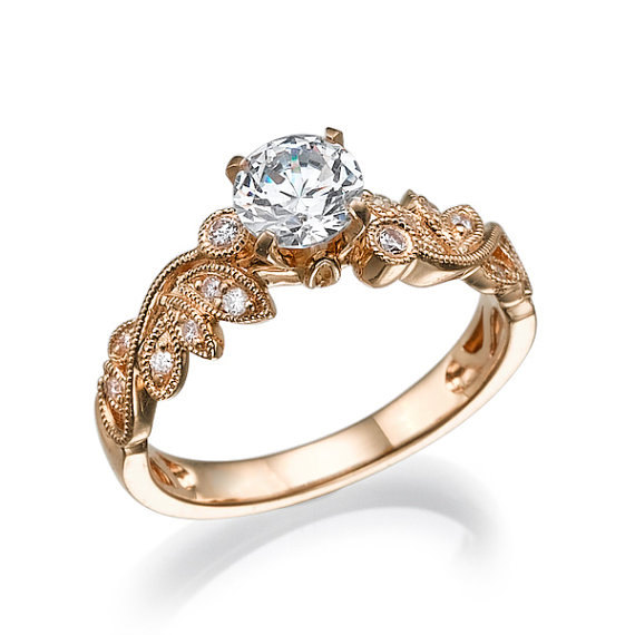 Leaf Engagement Ring Rose Gold Conflict Free Diamonds In Prong Setting Leaves Antique Vintage Art Deco