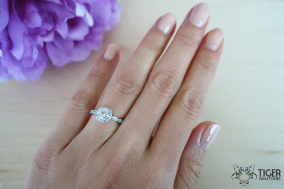 Size 3-11: 3/4 Ct Halo Vintage Inspired Engagement Ring, Man Made ...