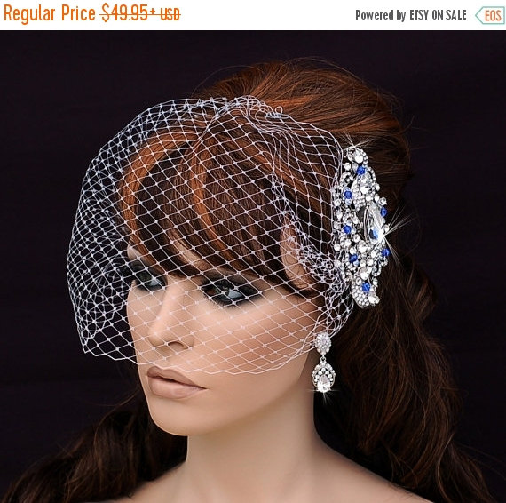 Birdcage Veil And Crystal Comb Bird Cage Bridal Wedding Short Blusher Something Blue