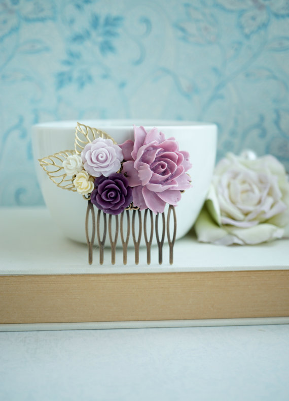 Hochzeit - Lilac Purple Rose, Ivory, Gold Plated Leaves, Flower Hair Comb. Bridesmaid Gift, Fall Rustic Purple Ivory Wedding. Autumn Wedding, Country