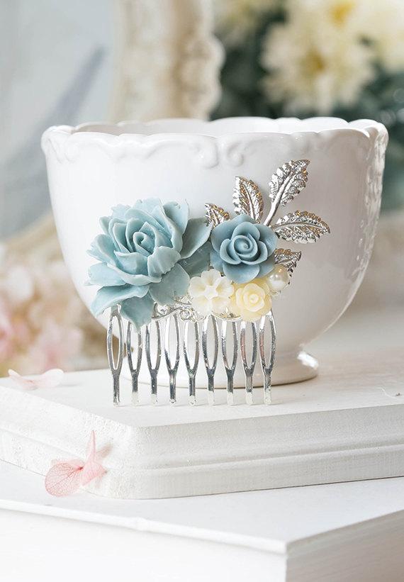 Mariage - Powder Blue Dusky Blue Dusty Blue Wedding Silver Bridal Hair Comb Ivory Rose Flower Pearl Silver Leaf Collage Comb Something Blue Wedding