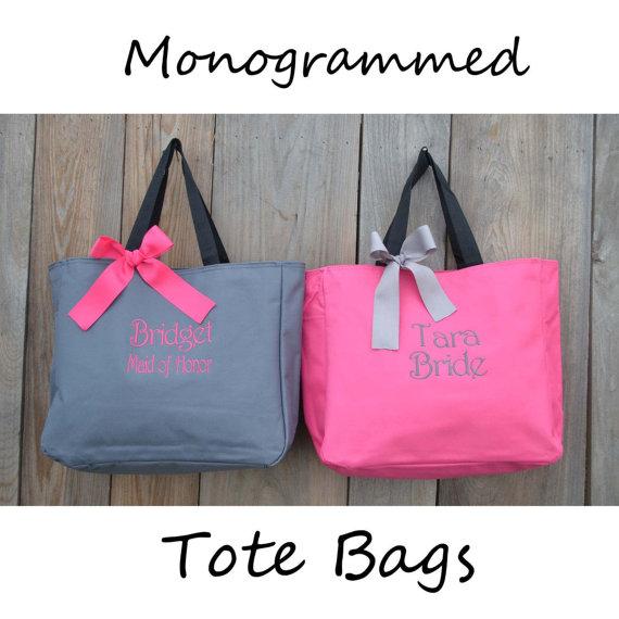 زفاف - 7 Personalized Bridesmaid Gift Tote Bags Monogrammed Tote, Bridesmaids Tote, Personalized Tote