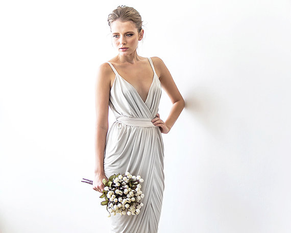 Wrap maxi ivory dress with straps tulip wedding gown for Tulip wedding dress style