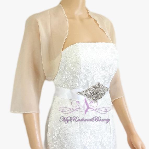 Wedding - Champagne Chiffon Jacket, SALE Wedding Bolero Jacket, Bolero Shrug, Chiffon Scarf, Silk Jacket, Bridal Faux Fur Wrap, Bridal Shrug LCJ108-CN