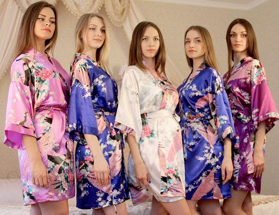 Wedding - Ship from USA, Set of 6 Bridesmaid Satin Robes, Kimono Robe, Regular and Plus Size Robe