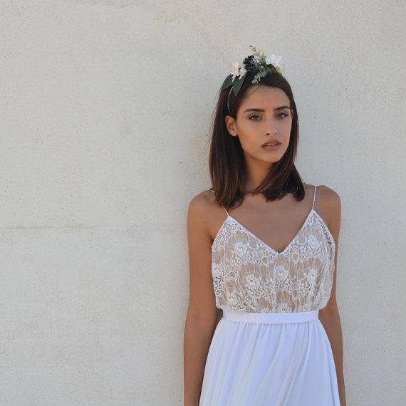 Hochzeit - Lace wedding dress, boho lace wedding dress, simple wedding dress