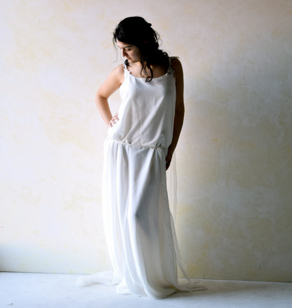 Boho Wedding Dress Ethereal Tunic Grecian Meval Fairy Beach