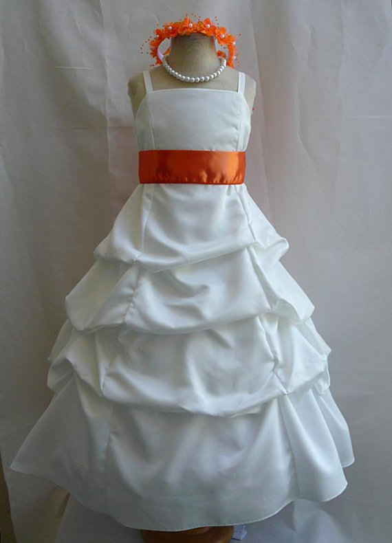 Flower Girl Dresses - IVORY With Orange Pick Up Dress (FD0SPU ...