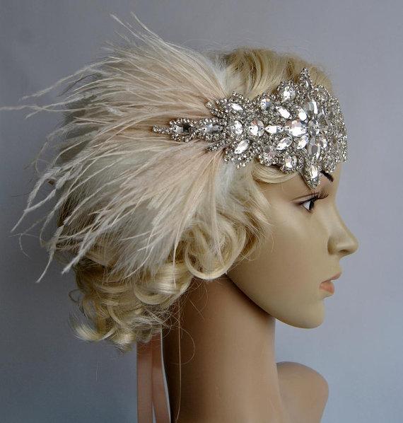 Hochzeit - Ready to ship Glamour Rhinestone flapper Gatsby Wedding Crystal Headband Wedding Headpiece, Bridal Headpiece, 1920s Flapper feathers