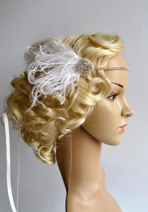 Mariage - Ready to ship Crystal Rhinestone Headband Headpiece, 1920s flapper gatsby Headband, Wedding Headband, rhinestone feather Headband