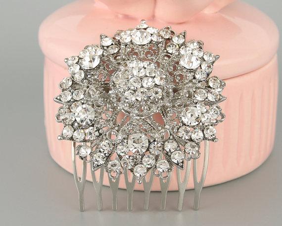 Hochzeit - Gorgeous Clear Swarovski Crystal, Hair Clip, Bridal Hair Comb, Vintage Inspired, Art Deco, Hair Tiara, Wedding Headpiece, Bridal Gift-10159