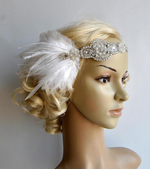Hochzeit - Ready to ship Rhinestone flapper Gatsby Wedding Headband, Crystal Headband, Wedding Headpiece, Halo Bridal Headpiece, 1920s Flapper headband