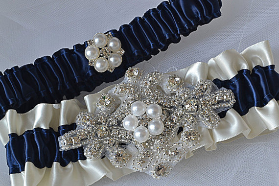 26ad3f532 Wedding Garter Set - Navy Blue Garters And Ivory Satin With Rhinestone  Embellishments