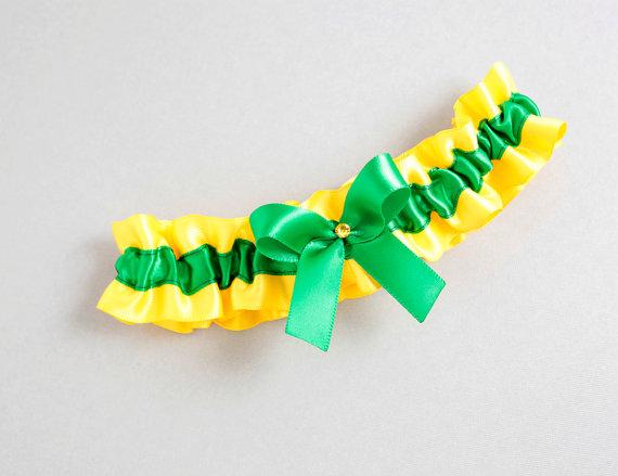 Свадьба - Wedding Garter, Bridal Garter, Boudoir Garter, Prom Garter - Green Gold Yellow Bow Crystal Boudoir Garter SINGLE