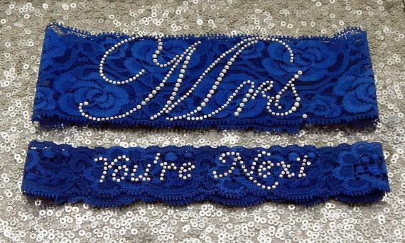 """Свадьба - Wedding Garter Set - Royal BLUE Bridal Garter with SILVER Rhinestone """"Mrs"""" Show Garter & Rhinestone """"You're Next"""" Toss Garter - other colors"""