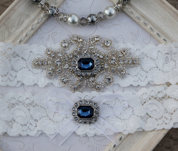 Свадьба - Something Blue Wedding Garter , Pearl Rhinestone and Crystal Garter Set , Lace Bridal Garter , Wedding Garter Set  , Garter