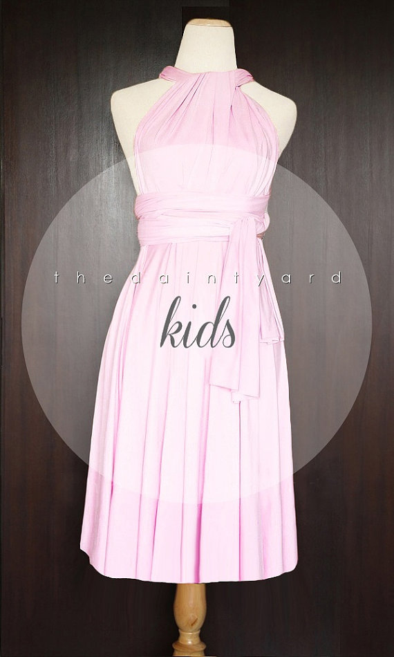 Hochzeit - KIDS Sweet Pink Bridesmaid Dress Convertible Dress Infinity Dress Multiway Dress Wrap Dress Wedding Dress Twist Dress Flower Girl Dress