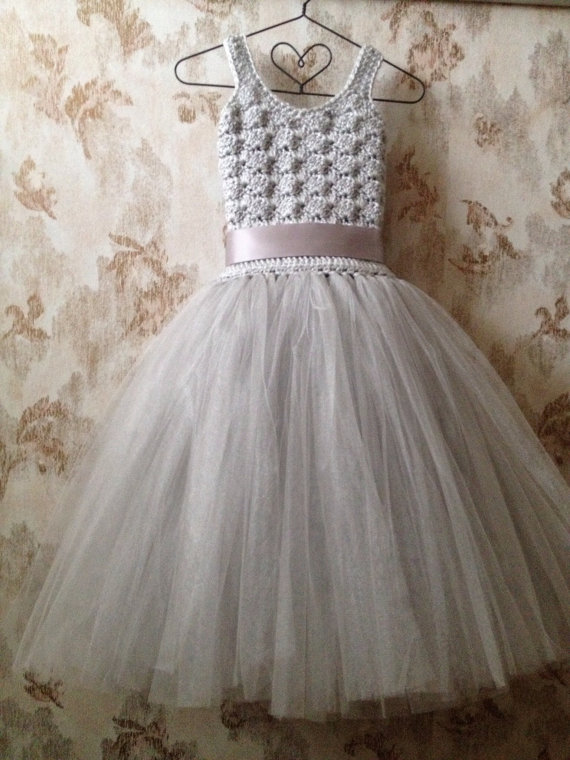 Mariage - Gray flower girl tutu dress ankle length, crochet tutu dress, baby tutu dress, toddler tutu dress, wedding tutu dress