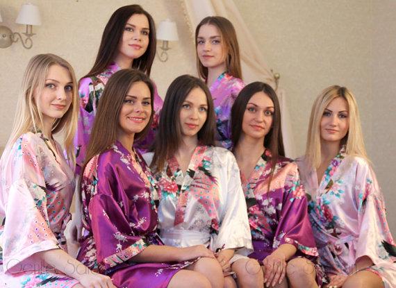 Mariage - Set of 10 Bridesmaid Satin Robes, Kimono Robe, Fast Shipping from New York, Regular and Plus Size Robe