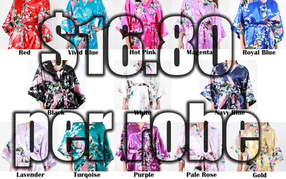 Mariage - Set of 8 Bridesmaid Satin Robes, Kimono Robe, Fast Shipping from New York, Regular and Plus Size Robe