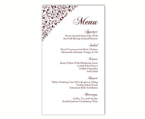 Mariage - Wedding Menu Template DIY Menu Card Template Editable Text Word File Instant Download Brown Menu Floral Menu Template Printable Menu 4x7inch