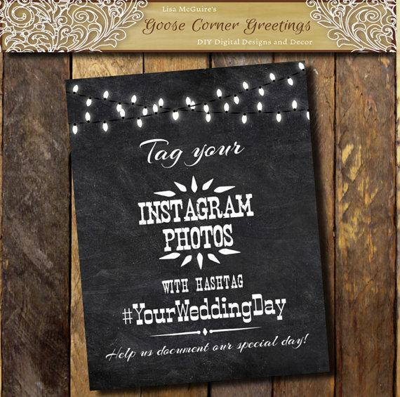 Wedding - Printable Rustic Chalkboard Hashtag sign, Instagram Wedding sign.Wedding Hashtag sign, Rustic Wedding sign, Social Media Wedding sign