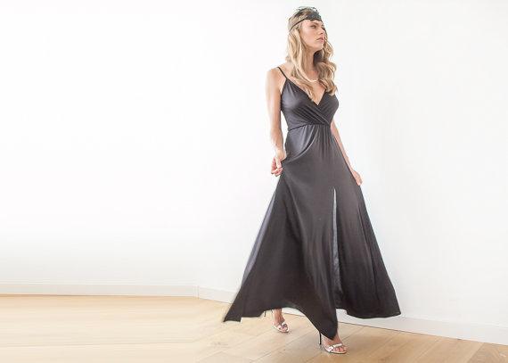 Mariage - Black straps wrap gown, Black maxi dress with slit