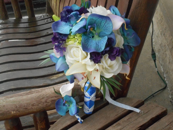 Свадьба - Tropical Destination Beach Bouquet Real Touch Bridal Bouquet / Purple and Royal Blue Bouquet / Silk Wedding Flowers / Tropical Flowers