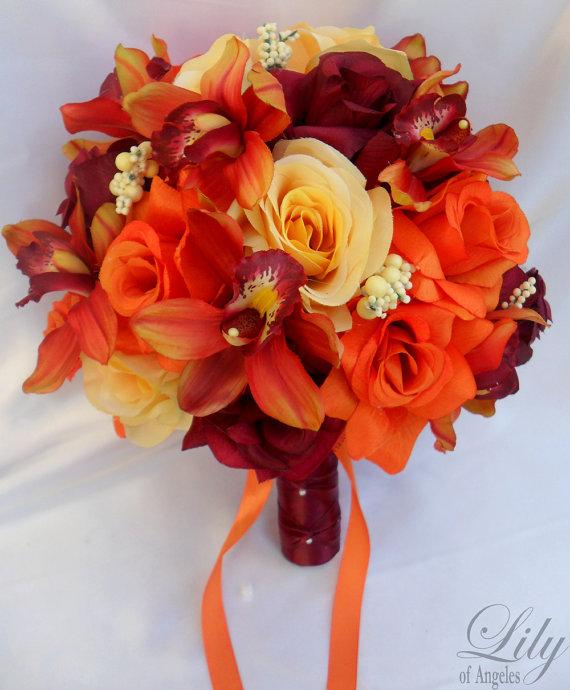 17 Piece Package Wedding Bridal Bride Maid Bridesmaid Bouquet ...