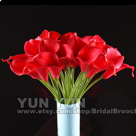 زفاف - Calla Lily Bouquet 20pcs latex Real Touch Flowers Bridal Bouquet red with Scent  the same as real flower for Wedding DIY KC54