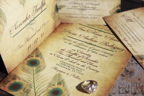 Vintage Peacock Wedding Invitation Set Fancy Feathers Wedding