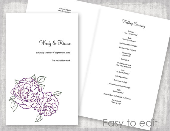 Wedding Program Template Amethyst Purple And Green Peony Rose DIY - Easy wedding program template