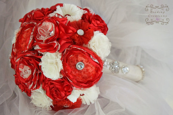 Bright red and white fabric flower bouquet rhinestone red rose bright red and white fabric flower bouquet rhinestone red rose flower handmade flowers wedding bridal bouquet silk flowers fake flowers mightylinksfo