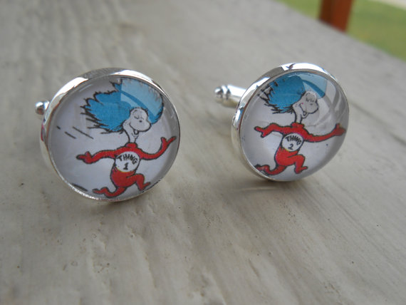 """Mariage - Dr. Seuss """"Thing ONE & Thing TWO"""" Cufflinks. Cat In The Hat. Wedding, Men's Christmas Gift, Dad. Silver Plated. CUSTOM Orders Welcome."""