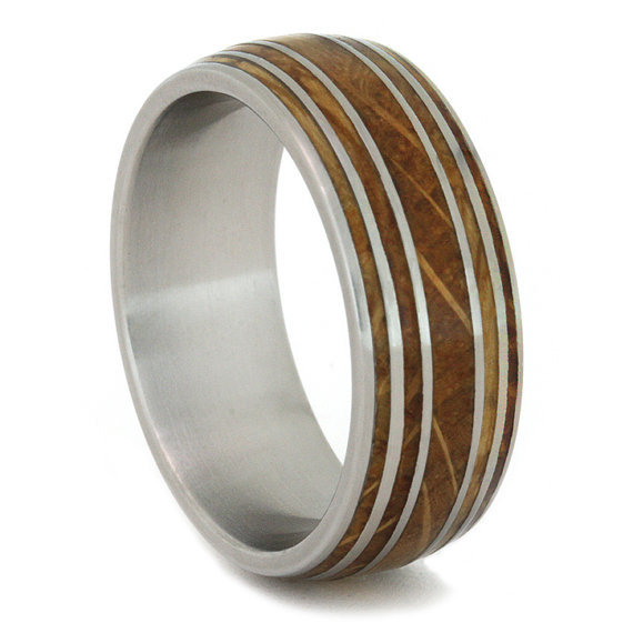 Mariage - Authentic Jack Daniels Whiskey Barrel Ring with Titanium Sleeve and Straps