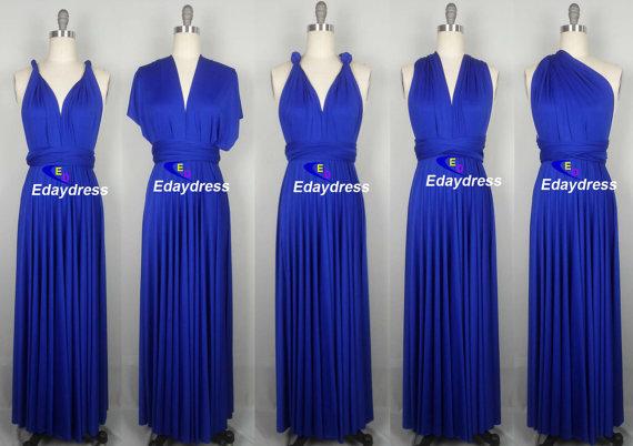 Свадьба - Summer Maxi Full Length Bridesmaid Infinity Convertible Wrap Dress Multiway Long Dresses Royal Blue  Dress